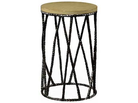 Jonathan Charles Artisan Antique Black With Highlight 16 Round Drum Table