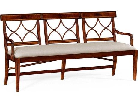 Jonathan Charles Buckingham Medium Antique Mahogany Mazo Upholstered Three Seater Regency Accent Bench JC495627MAHF001