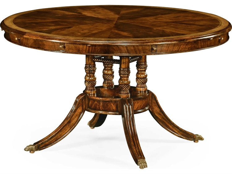 Jonathan Charles Buckingham Medium Antique Mahogany And Satinwood 53 Round To Oval Dining Table
