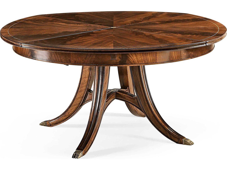 Jonathan Charles Buckingham Medium Antique Mahogany 9'' Round Dining Table  with Self Storing Leaves