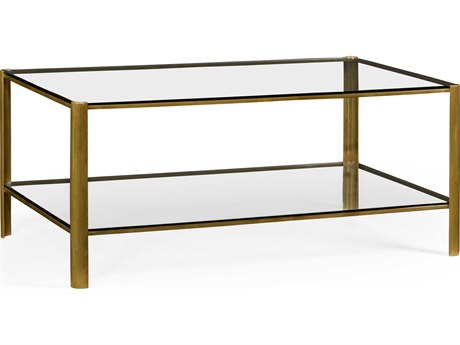 Jonathan Charles Cosmo Light Antique Brass 28 x 48 Rectangular Coffee Table