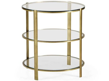 Jonathan Charles Cosmo Light Antique Brass 24 Round End Table