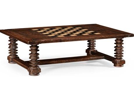 Jonathan Charles Country Farmhouse Crotch Walnut Heavily Distressed Walnut 60 x 42 Rectangular Coffee Table