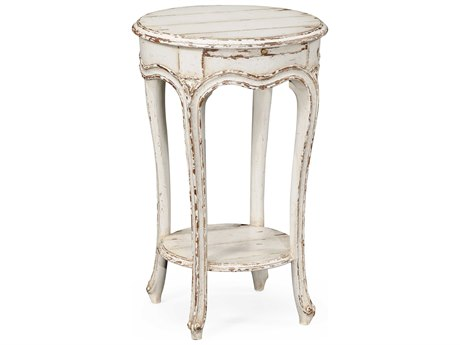 Jonathan Charles Country Farmhouse Painted Off-White 17 Round End Table