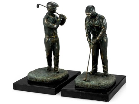 Jonathan Charles Curated Antique Dark Bronze Brass Golfers Book Ends with Rub-Through on Neromacquina marble JC495666DBR