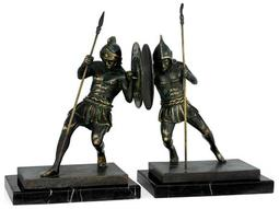 Curated Dark Bronze with Verdigris Rub-Through Brass Combatant Book Ends with Rub-Through on Neromacquina marble