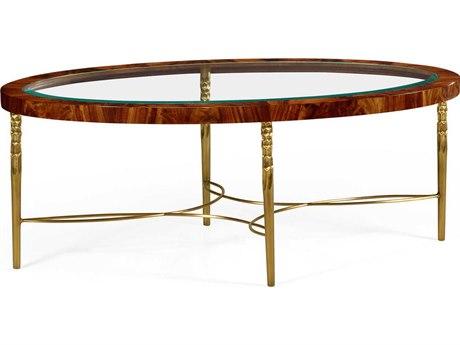 Jonathan Charles Curated Tropical Walnut Crotch Oval Coffee Table with Brass Base