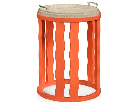 Jonathan Charles Curated collection Painted Persimmon Drum Table JC495522PEP