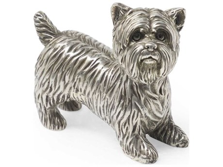 Jonathan Charles Curated Antique White Brass Yorkshire Terrier Decorative Sculpture