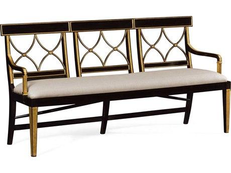 Jonathan Charles Kensington Ebonised Mazo Upholstered Three Seater Regency Accent Bench JC495627EBFF001