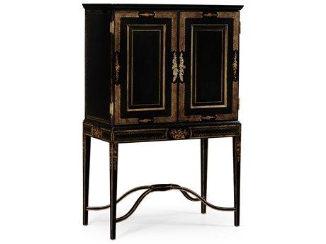 Jonathan Charles Kensington Painted Formal Black & Gold Console Cabinet JC492356FBG