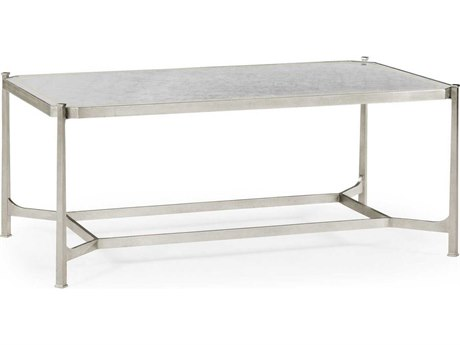 Jonathan Charles Luxe Gilded Antique Silver-Leaf 48 x 28 Rectangular Coffee Table JC494144SGES