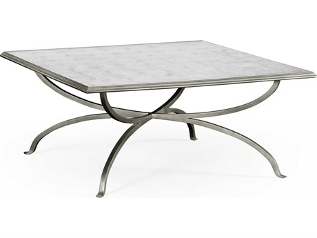 Jonathan Charles Luxe Gilded Antique Silver-Leaf 39.5 Square Coffee Table JC494838S