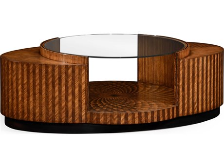 Jonathan Charles Luxe Medium Zebrano 62 x 40 Oval Coffee Table