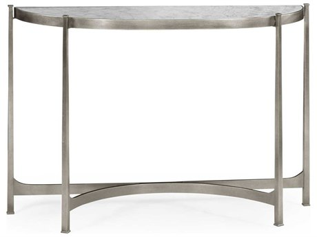 Jonathan Charles Luxe Gilded Antique Silver-Leaf 48.5 x 14 Demilune Console Table JC494149S