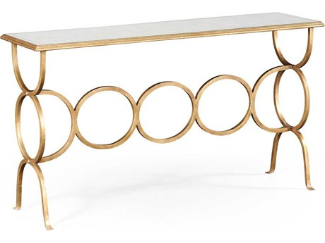 Jonathan Charles Luxe Gilded Iron 60 x 16 Rectangular Console Table