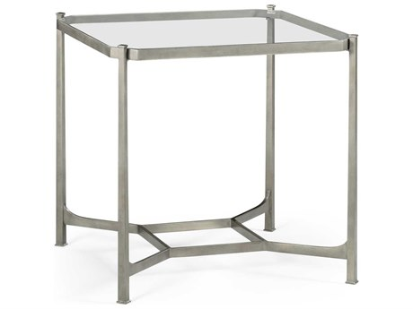 Jonathan Charles Luxe Gilded Antique Silver-Leaf 28 Square End Table