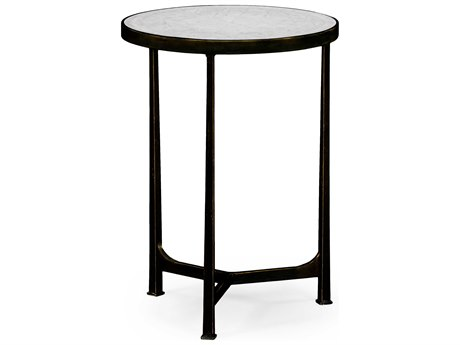 Jonathan Charles Luxe Antique Bronze Finish On Metal 18 Round End Table