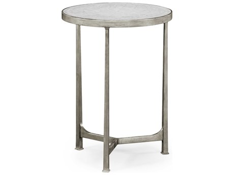 Jonathan Charles Luxe Gilded Antique Silver-Leaf 18 Round End Table