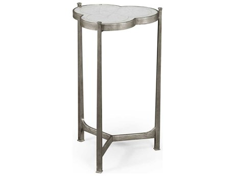 Jonathan Charles Luxe Gilded Antique Silver-Leaf 16 x 15.5 trefoil End Table JC494172S