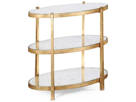 Jonathan Charles Luxe Gilded Iron 26 x 16 Oval End Table JC494174G