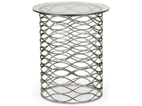 Jonathan Charles Luxe Gilded Antique Silver-Leaf 21 Round End Table JC494247S