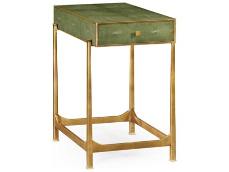 Jonathan Charles Luxe Green Shagreen With Gilded Border 16.5 x 26.5 Rectangular End Table
