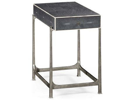 Jonathan Charles Luxe Anthracite Shagreen 16.5 x 26.5 Rectangular End Table JC494256SSGA