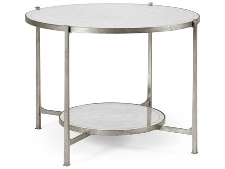 Jonathan Charles Luxe Gilded Antique Silver-Leaf 42.5 Round Foyer Table JC494104S