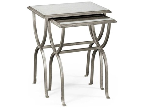 Jonathan Charles Luxe Gilded Antique Silver-Leaf 24 x 17.5 Rectangular Nesting Table JC494176S