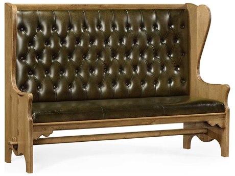 Jonathan Charles Natural Oak Leather English Library Green Medium-Water Base 82 x 25.5 Rectangular Dining Table