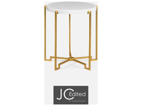 Jonathan Charles JC Edited - Simply Elegant Biancaneve Gilded Iron Lamp Table with Biancaneve Top