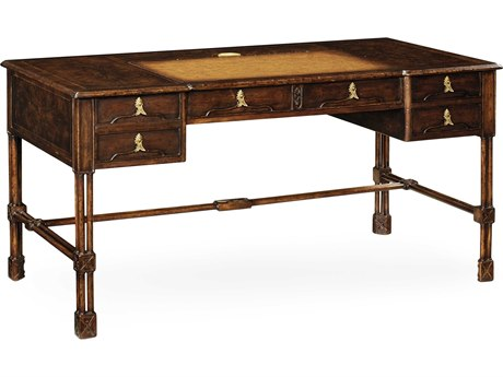 Jonathan Charles Tribeca Dark American Crotch Walnut Executive Desk