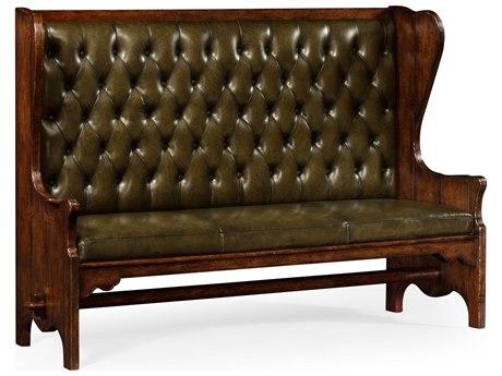 Jonathan Charles Tudor Oak Medium English Library Green Leather Sofa Couch JC494438TDO