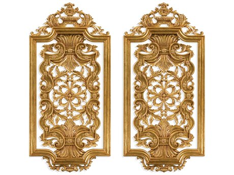 Jonathan Charles Versailles Light Antique Gold-Leaf With Rub-Through Room Divider JC493391GIL