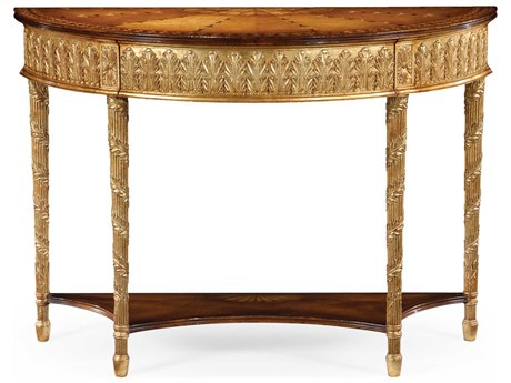 Jonathan Charles Versailles Light Antique Gold-Leaf 46.5 x 19 Demilune Console Table JC493208GIL