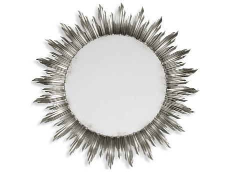 Jonathan Charles Versailles 69 Round Light Antique Silver-Leaf Wall Mirror