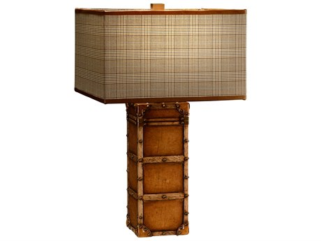Jonathan Charles Voyager Medium Antique Chestnut Leather Table Lamp