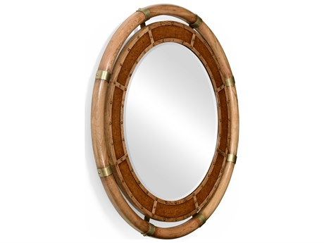 Jonathan Charles Voyager 44 Round Medium Antique Chestnut Leather Wall Mirror