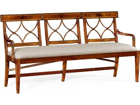 Jonathan Charles Windsor Medium Crotch Walnut Mazo Upholstered Three Seater Regency Accent Bench JC495627CWMF001