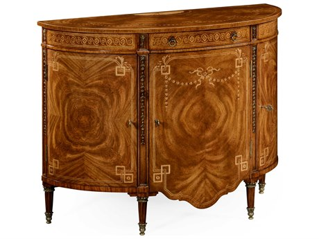 Jonathan Charles Windsor Light Crotch Walnut On Marquetry Console Cabinet