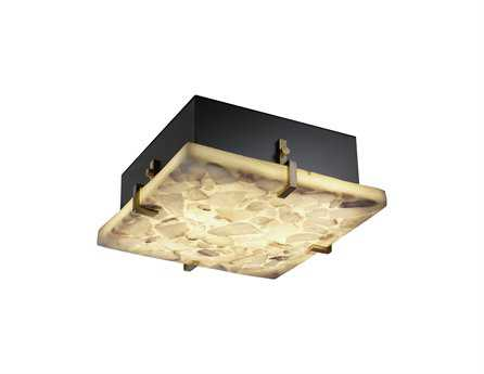 Justice Design Group Alabaster Rocks Clips Square Resin Two-Light ADA Wall Sconce - Flush Mount Light JDALR5555