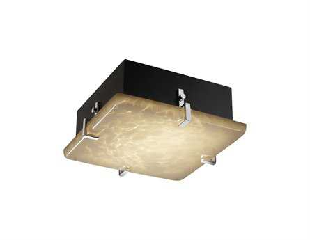 Justice Design Group Fusion Clips Square Artisan Glass Two-Light ADA Wall Sconce - Flush Mount Light JDFSN5555
