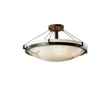 Justice Design Group Lumenaria Round Faux Alabaster Resin Six-Light Semi-Flush Mount Light Bowl With Ring JDFAL9682