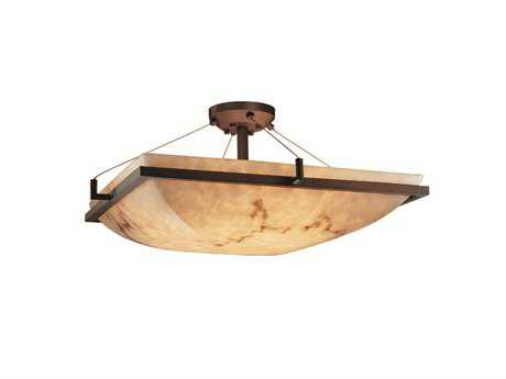 Justice Design Group Lumenaria Square Faux Alabaster Resin Six-Light Semi-Flush Mount Light Bowl With Ring