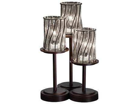Justice Design Group Wire Glass Dakota Cage With Blown Three-Light Table Lamp JDWGL8797