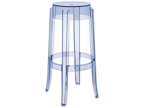 Kartell Charles Ghost Transparent Light Blue Bar Stool (Sold in 2) KAR4899P2