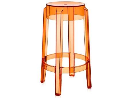 Kartell Charles Ghost Transparent Orange Counter Stool (Sold in 2) KAR4898E3