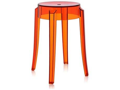 Kartell Charles Ghost Transparent Orange Dining Side Stool (Sold in 2) KAR4897E3