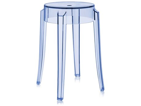 Kartell Charles Ghost Transparent Light Blue Dining Side Stool (Sold in 2)
